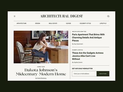 Architectural Digest ❘ Landing Page Redesign landing magazine ui