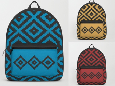 Backpacks with traditional motif backtoschool ethnic traditional surfacepattern surfacedesign backpack patterndesign geometric pattern pattern productdesign design vector illustration