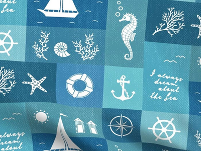 Vintage Board Nautical Items Fabric