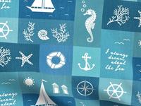Vintage Board Nautical Items Fabric