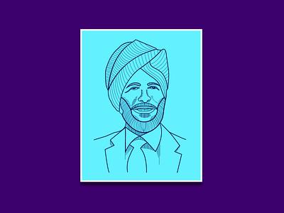 Milkha Singh - line art portrait line art logo vector illustration design illustrator branding