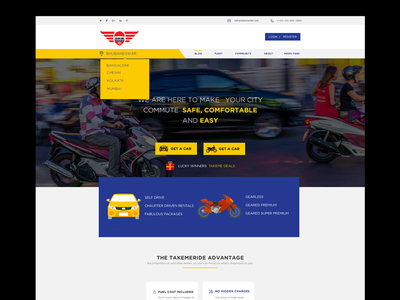 Takemeride Design and re branding booking agency landing page web