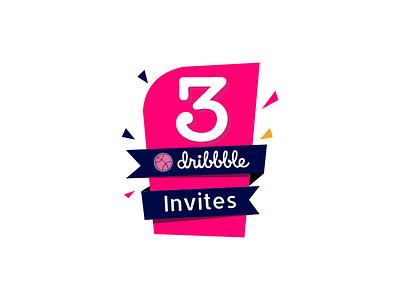 3 Dribbble Invites vector ui ux invitations invites giveaway invite invites