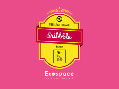 Dribbble Meet Bhubaneswar - February 2020 illustrator ui typography branding app design landing page design meetings dribble meetup meetup