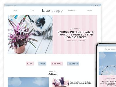 Blue Poppy Wordpress Theme Blog web template web designing blog template blog theme website blog website theme web themes branding graphic design