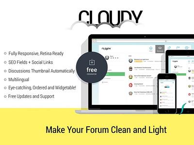Cloudy - Responsive Vanilla Forums web design css html blog web template website template web theme web themes branding 3d graphic design
