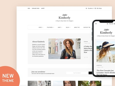 Kimberly - Blog & Shop Theme blogger wordpress blog blog theme blog template blog wordpress template web theme branding graphic design