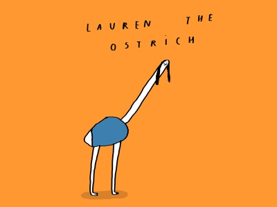 Lauren the ostrich comic banana shelf humour fun cartoon ostrich illustration