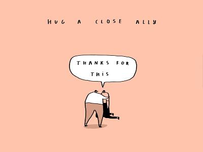 hug ally thank you hugs funny art greetings cards funny illustration funny comedy banana shelf card ideas humour illustration