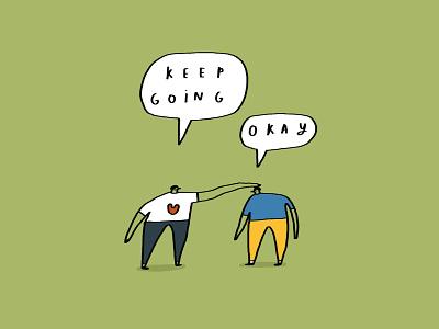 Keep going banana shelf card ideas humour illustration