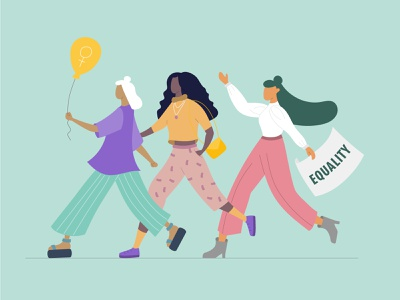 Three strong females walk together Illustration женщина design black woman illustrations illustration design strong girls female illustration together walk protest feminism equality woman