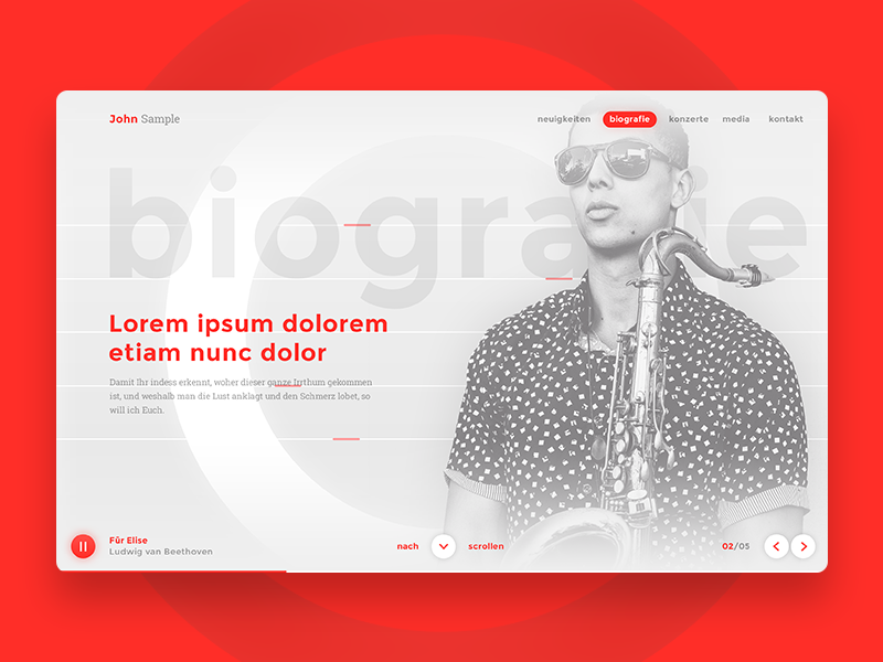 Interface Concept for Artist Pages concept about profile artist music gallery clean minimal light typography ui website