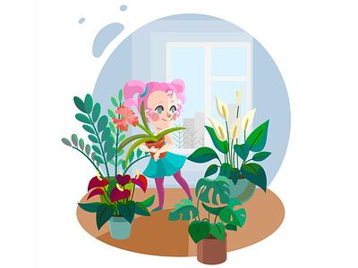 Flower room flower character vector illustration design