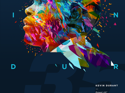 Kevin Durant - Nba poster series kevin durant illustration typography typo poster nba mvp player sport color