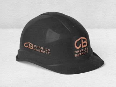 Legacy Design Agency: Roofing Company Branded Helmet. logo illustration gold and black emboss logo design construction logo builders logo bronze logo branding black and gold