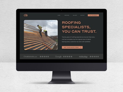 Legacy Design Agency: Roofing Company Website. gold and black emboss logo black brand identity dark ui black website gold website roofing website construction website builders website construction logo builders logo branding black and gold