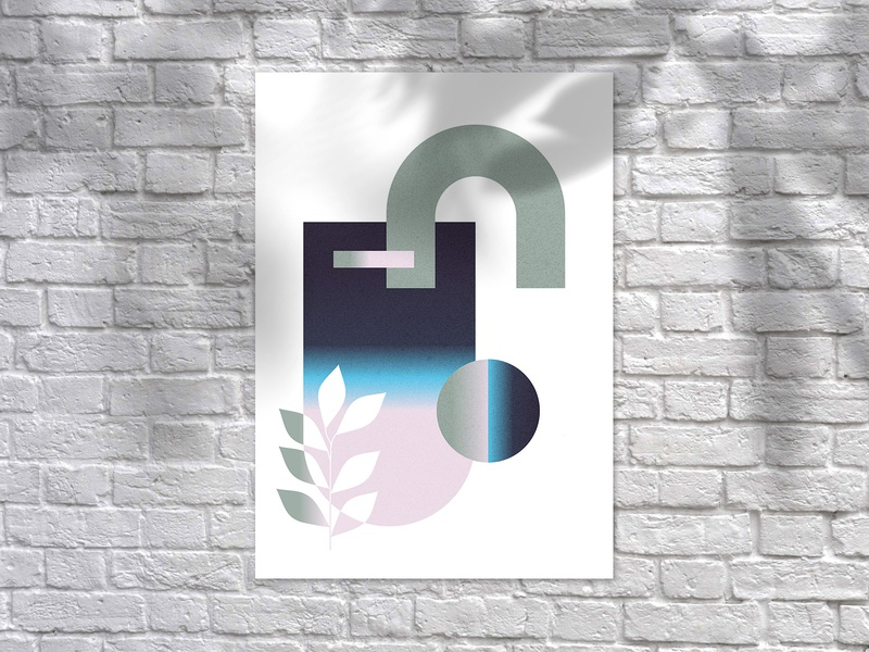Poster Experiment illustration shape geometry color wall art art simple vector print design print blue green minimal abstract wallpaper graphic design poster