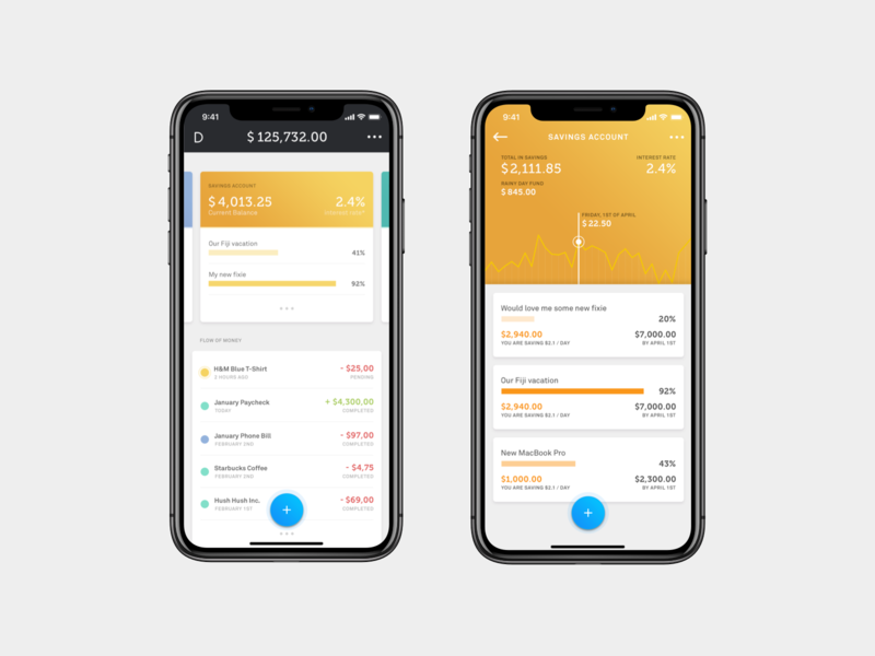 Douugh / Savings Account orange gold clean modern app design mobile design money banking app banking finance app fintech finance mobile app mobile ui douugh