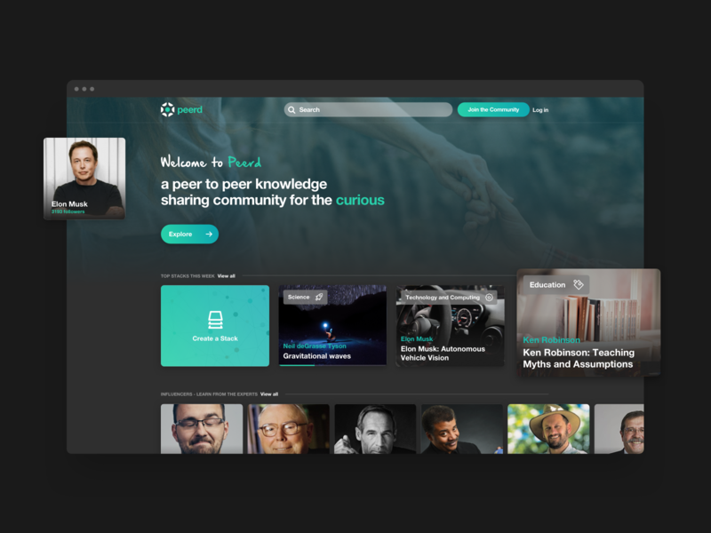 Peerd / Home Page green dark web app concept design ux ui web agency knowledge elon musk responsive social network network peer webdesign landing page home page