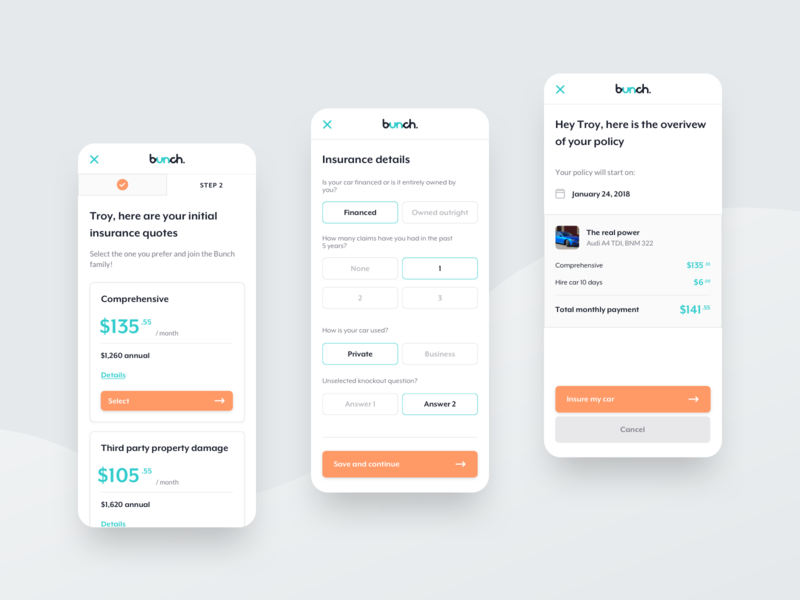 bunch / Insurance Policy policy white clean orange app mobile app ux ux design ui designs insurance claim car vehicle insurance app insurance