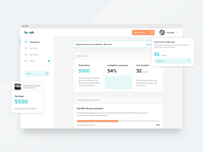 bunch / Dashboard money billing dashboard design dashboard ui dashboard bunch minimal simple modern clean white ux design ui responsive design desktop app car vehicle insurance app insurance