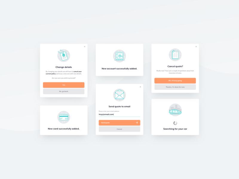 bunch / modals app responsive webdesign minimal orange ui design insurance app clean modal box insurance car modals
