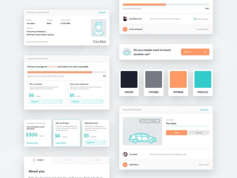 bunch /  Design System responsive ui design car insurance teal orange styleguide components branding colors branding identity color palette colors guidebook guides design guidelines design system