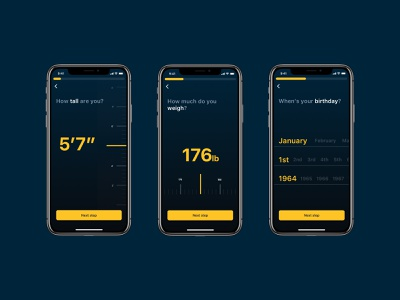 Warrior Up / Onboarding minimal simple clean modern dark blue yellow military ui  ux design birthday weight height signup registration onboarding dashboard ios app ios android app ui design mobile app