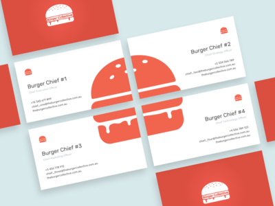 The Burger Collective business cards chief fast food burgers business card