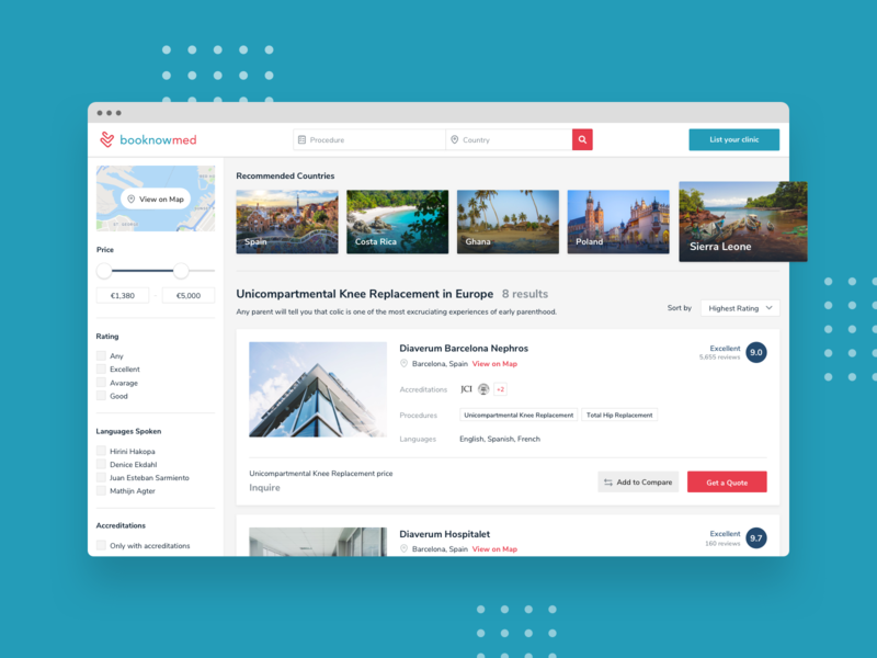 booknowmed / Search Results travel search results search product design ux design ux booking app application ui ui design ui medicine medical healthcare health app application app health doctor clinic