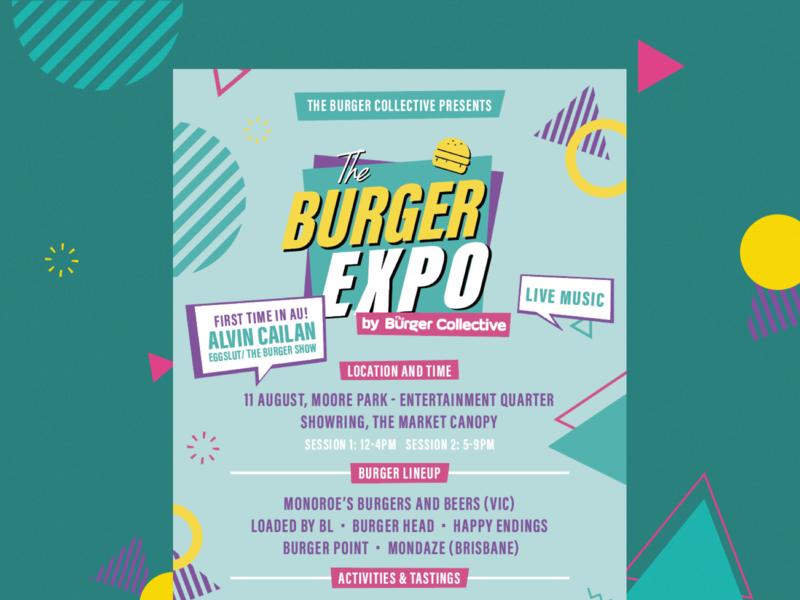 Burger Expo / Promotional Flyers menu print 90s vintage retro logo custom typography food app burger lineup music festival visual identity branding design artwork flyer poster flyer design
