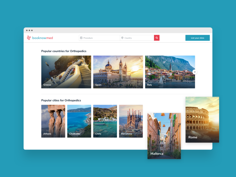 booknowmed / Popular Countries & Cities Section travel web app product design ux design booking app clinic website design website landing page medical care uidesign ui health app medical app medical