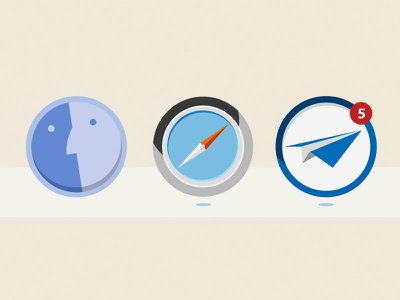OSX dock icons - Flat icons icon vector mac osx flat design illutsration safari finder sparrow mail