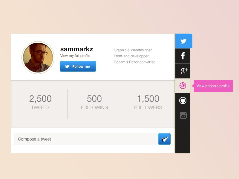 Profile card interface [free UX/UI psd] psd free profile flat ux ui design interface social ressource web design