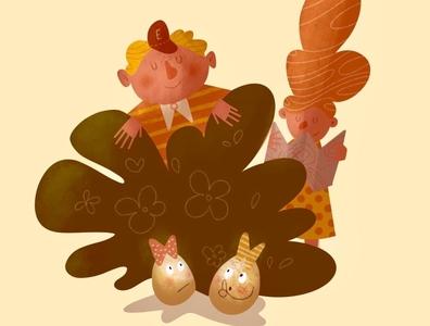 Egg Hunt kidlit kidlitart egg hunt easter easter egg digital art procreate character illustrator illustration