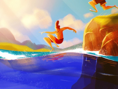 Splash kidlit art kidlit splash summer character procreate digital art illustrator illustration