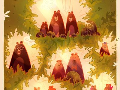 Neigh(bear)hood colors coloring bear animals cute jeunesse kidlit art kidlit design character procreate digital art illustrator illustration