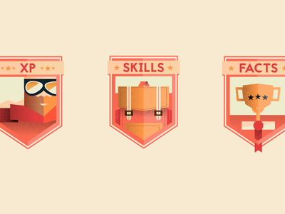 Badges resume [Full view included] resume badge badges back pack skills poly vector illustrator
