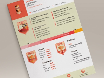 Resume 2015 [Full view included] resume layout graphic design vector low poly timeline badges