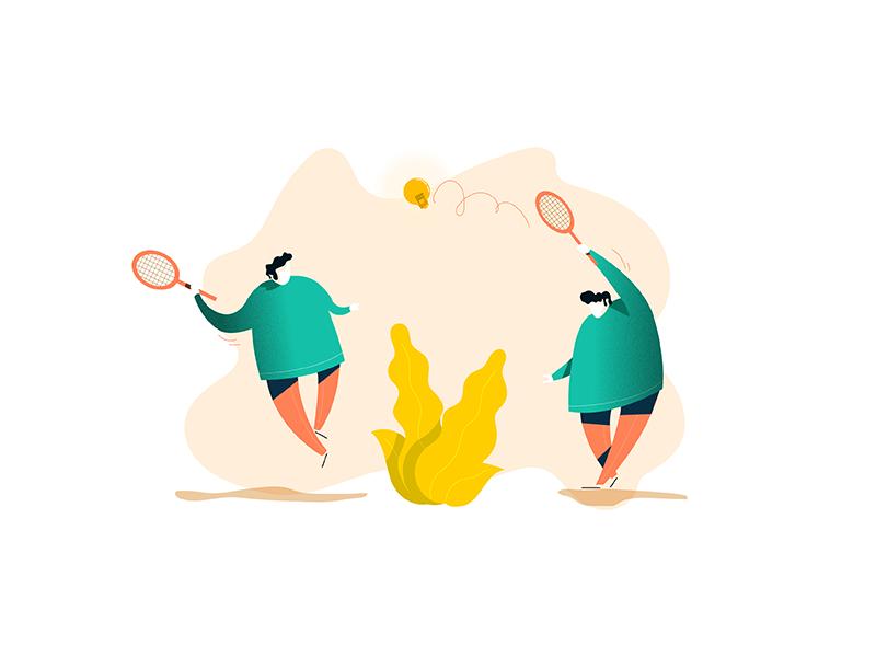 Playing with ideas bulb light ideas sport tennis vectorart adobeillustrator illustrateur illustration