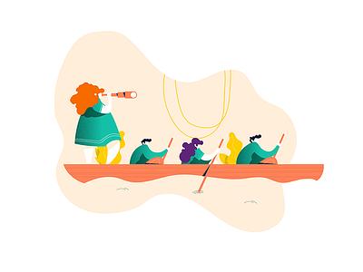 Rowing illustrateur explorator exploration team rowing graphic design art vector adobe illustrator illustration
