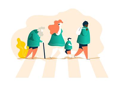 One path, multiple users path child old man abbey road vectorart adobe illustrator illustrateur illustration