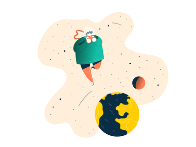 A step back digital illustration planets cosmonaut astronaut space looking glass vectorart adobe illustrator illustrateur illustration