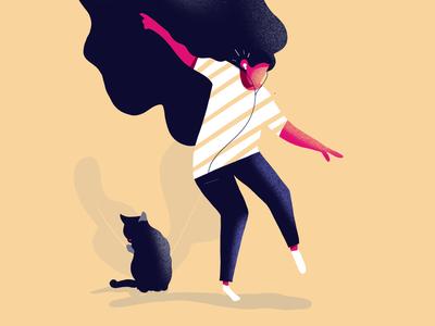 Dancing 🕺😁 characters happy procreate cat move dance illustration