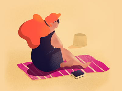 Beach day ⛱☀️ scene loneliness sunny procreate illustration character summer beach