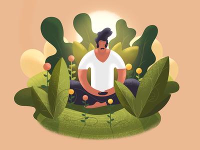 Zen garden 🧘♀️🌿 calm character digital illustration digital art france lille illustrator flowers garden meditation zen procreate illustration