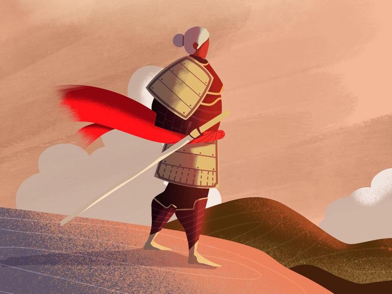 The wait 🌅🇯🇵 sunset samurai sword character design digital illustration digital art procreate illustrator illustration