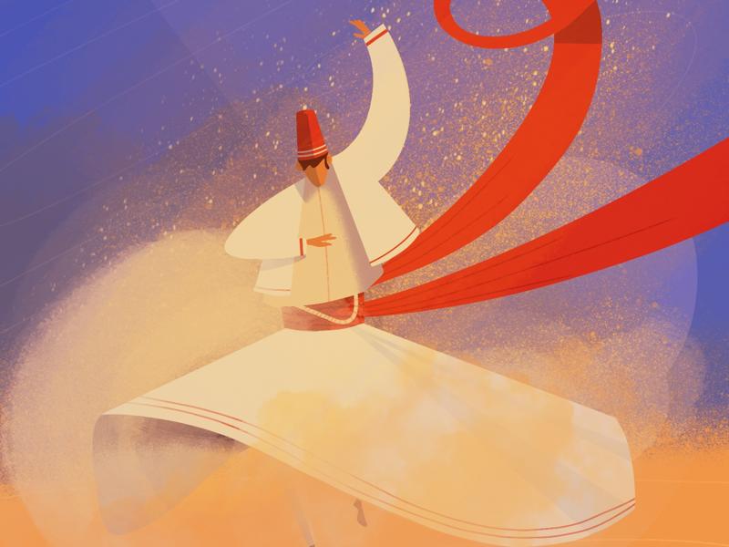 Whirling Dervish 🌀🌀 art warm colors lille drawing ipad dance procreate digital illustration digital art illustrator illustration