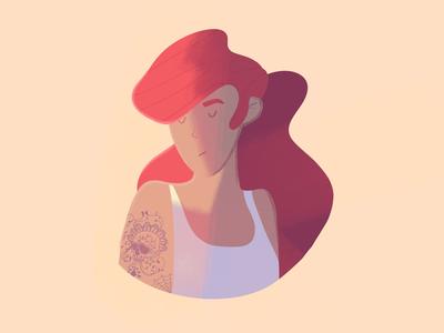 Death is a girl ☠️👩🦰 woman art design procreate digital drawing digital art tattoo redhead character illustration