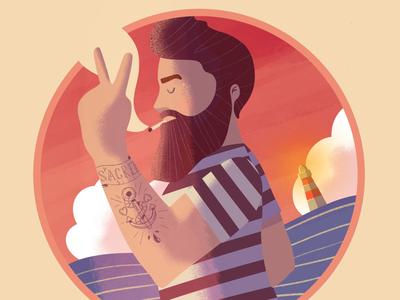 A Salty Dog 🌊⚓️ sea digital illustration design character lille art vector digital art procreate sailor illustration